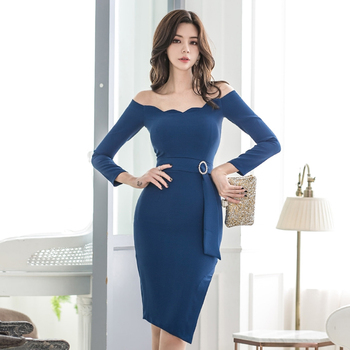 Sexy off shoulder dress Women party long sleeve bodycon Fashion elegant club female short