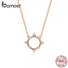bamoer Dazzling CZ Round Choker Neckalce for Women Real 925 Sterling Silver Rose Gold Color Fashion Jewelry Collar BSN153(China)