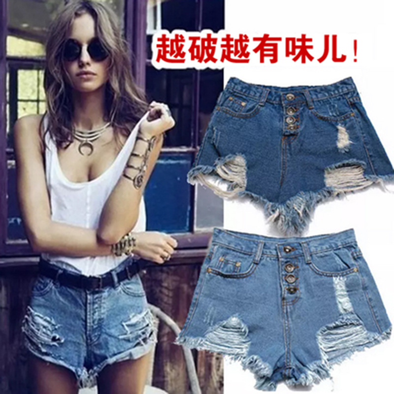 High-waisted Europe And America Denim Shorts Women's Candy-Colored With Holes Baggy Pants Slim Fit Beach Shorts