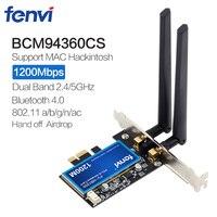 1200Mbps Broadcom BCM94360CS2 Desktop PCI Wireless Adapter WLAN Wi Fi Card With BT4.0 802.11ac 2.4G/5GHz For Hackintosh Desktop