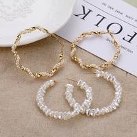 Tendance perle torsion grand cercle boucles d'oreilles femmes coréen doux Imitation perle grandes boucles d'oreilles mode déclaration géométrique bijoux