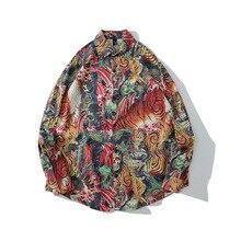 Shirt Tiger-Print Chemise Long-Sleeve Streetwear Retro Chinese-Style Men Casual Women