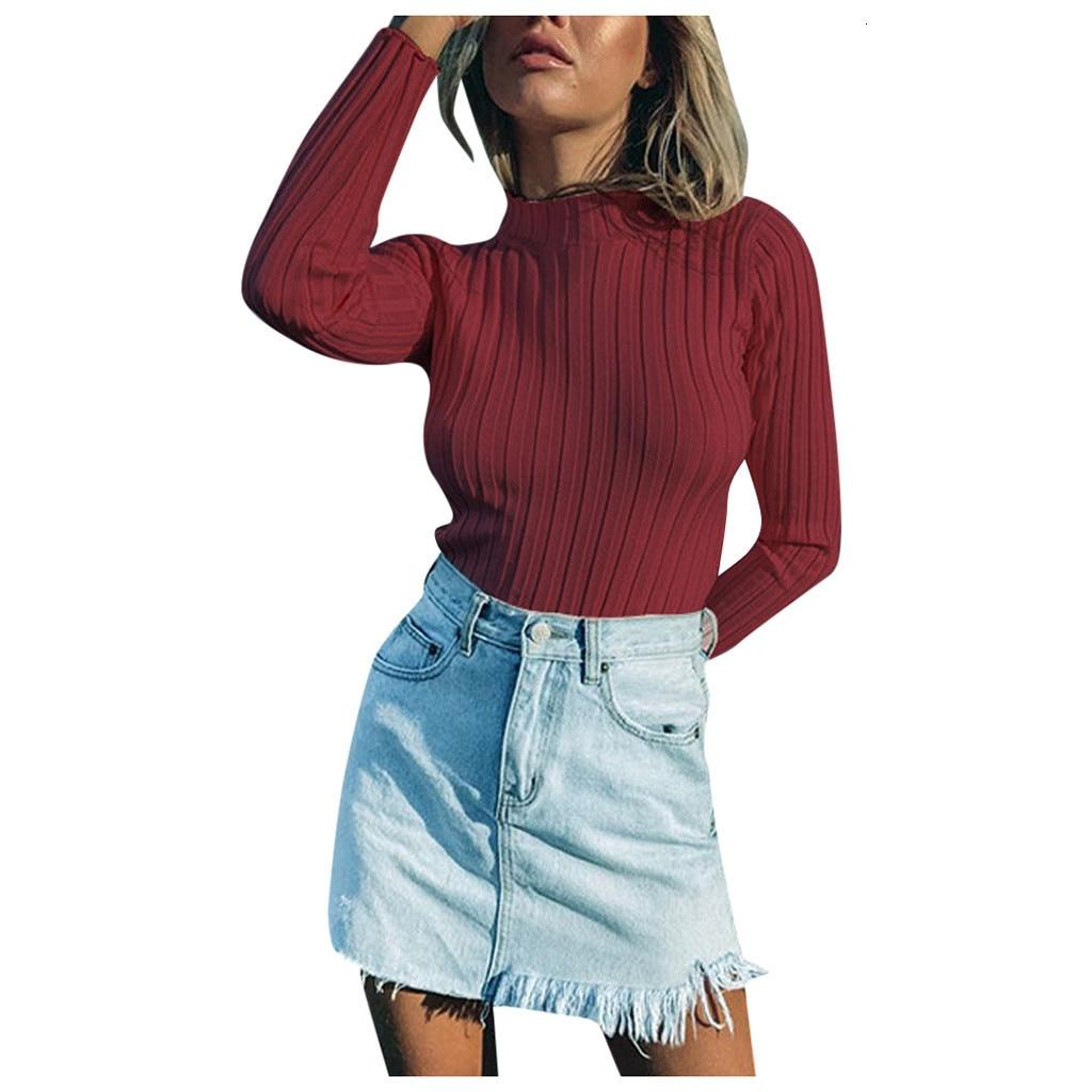 Depth Point Women's Sweaters Slender Sexy Pit Streep High Elastic Solid O -neck Herfst Winter Trui Streetwear Z0826