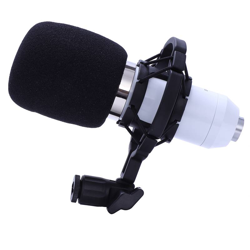 BM 800 Karaoke Capacitor Microphone With Shock Mount Condenser Microphone Mic Kit For Radio Sound Recording KTV Singing(White)