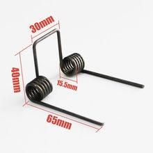 Ressort à Double torsion, fil dia 2.5mm OD. 5 bobines, longueur des pieds 15.5mm, 65mm