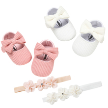 Hairband Bowknot Knitted shoes Baby Girl Baptism Sh