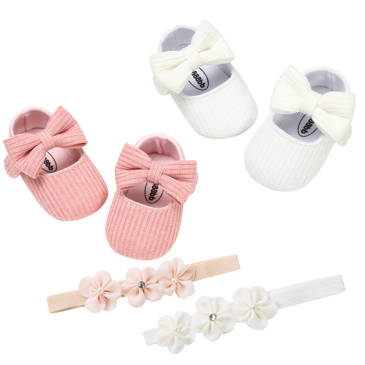 Hairband Bowknot Knitted Shoes Baby Girl Baptism Shoes Infant Newborn First Walkers Girl Birthday Christening Party Bed Shoes