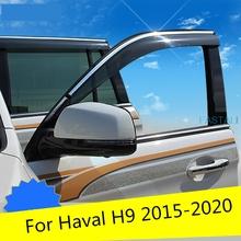 Dla Haval H9 2015-2020 okno samochodu osłona przeciwsłoneczna dekoracja okienna taśma przeciwdeszczowa samochód deszcz brwi wysokiej jakości materiał ABS trwały tanie tanio HUCOOL 10inch 0 65kg For Haval H9 2015-2020 Iso9000