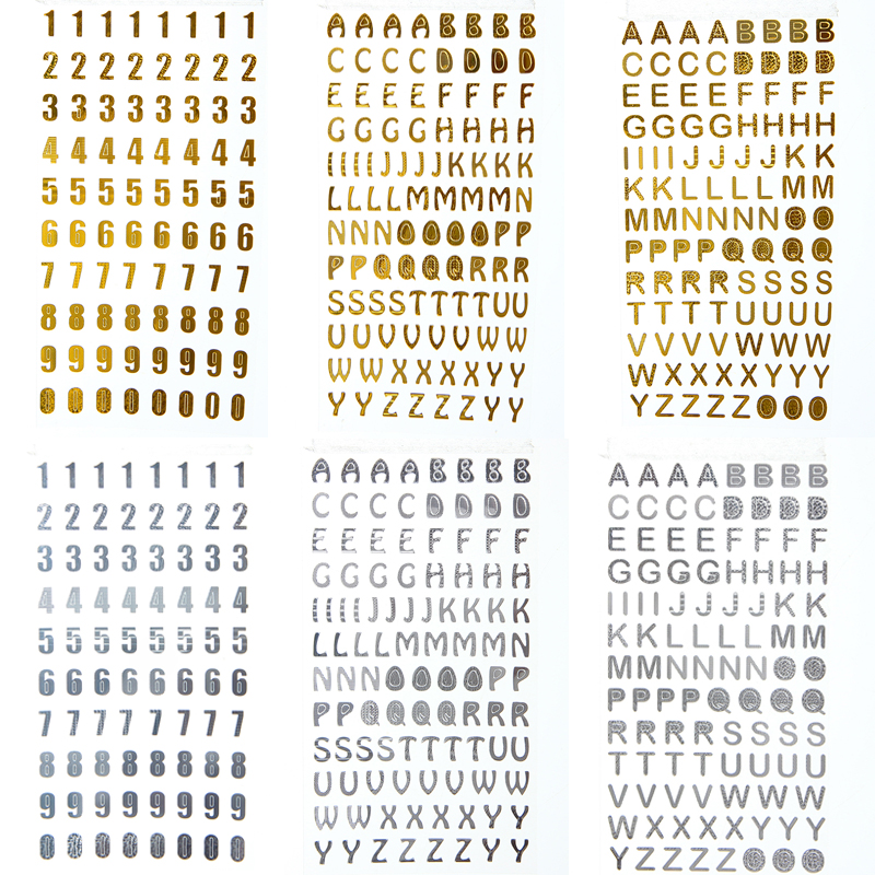 Gold Bronzing Silver Letters Alphabet Number Stickers DIY Decorative Scrapbooking Diary Sticker Bullet Journal Supplies