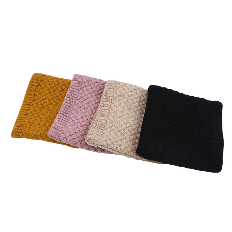 Women Winter Solid Knitted Scarf Set Snood Neck Beanie Hat Easy Scarves Cashmere Warm Fur Cap Wool Collars Scarves