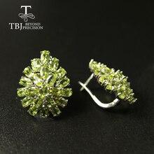 Boucle doreille péridot naturelle de grande taille 10ct, bijoux de luxe en argent sterling 925, pour femme, meilleur cadeau de tbj