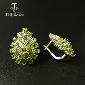 Image 1 - big size 10ct natural Peridot earring luxury party jewelry 925 sterling silver women jewelry for wife mom best gift from tbj