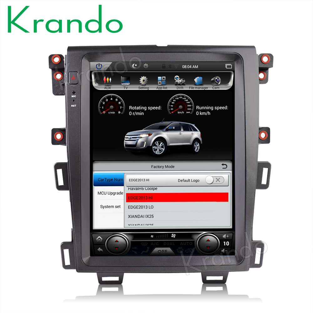 """Krando android 8.1 12.1 """"navegação de rádio do carro da tela verticial para o jogador multimídia de ford edge 2009-2014 gps"""
