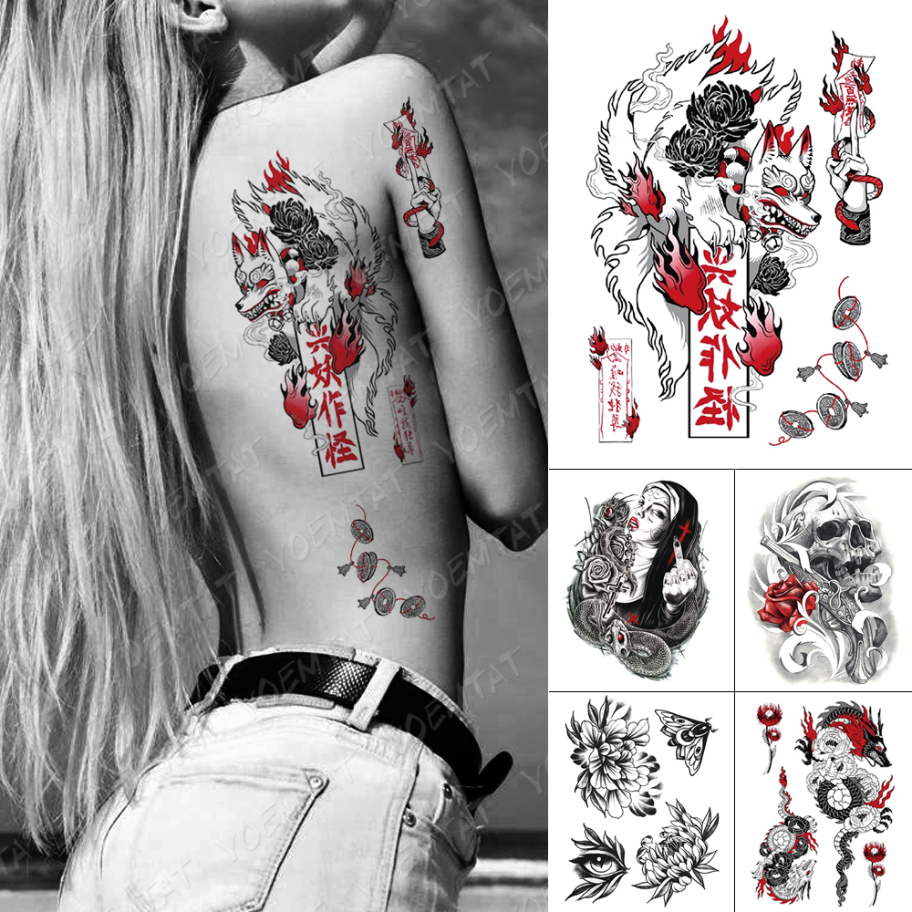 Waterproof Temporary Tattoo Sticker Old School Fox Spell Flash Tattoos Cat Eyes Skull Body Art Arm Fake Tatoo Women Men