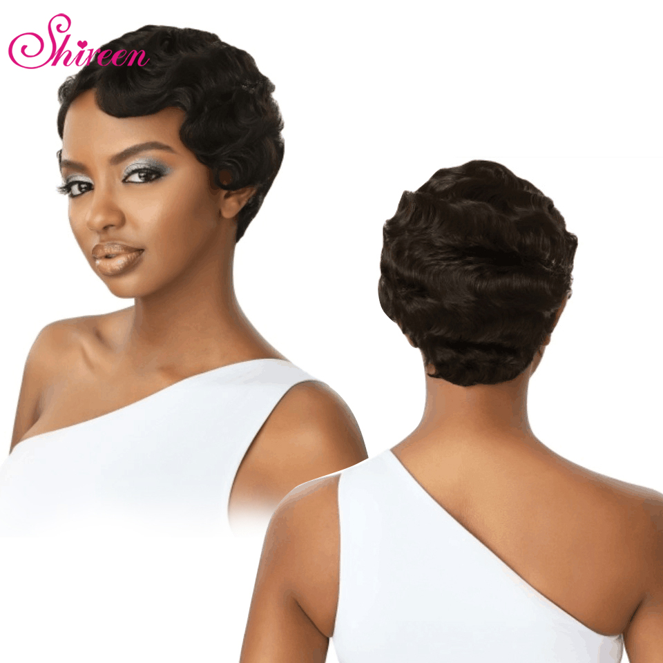 Shireen Hair Short Human Hair Wigs For Women Finger Wave Wigs Brazilian Remy Human Hair Short Wavy Mommy Wig