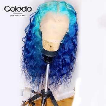COLODO ブラジルの Remy 13 × 4 レースフロントかつらオンブル色の水波人間髪かつら事前摘み取ら 150 密度ピンクのかつら - DISCOUNT ITEM  44% OFF ヘアエクステンション & ウィッグ