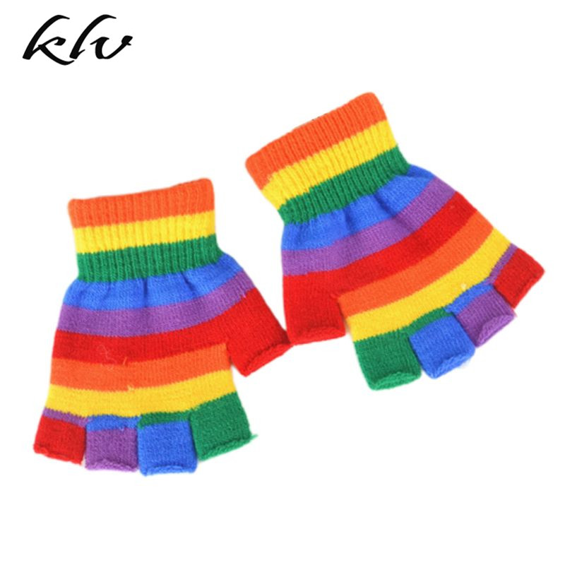 Adult Children 80s Rainbow Stripes Patchwork Short Gloves Fingerless Wrist Length Knitted Theme Party Mittens Costume Accessorie