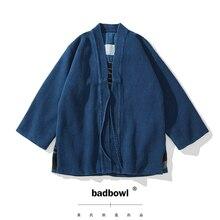 BADBOWL Plant INDIGO Dyeing Road Robe Heavy Kendo Fabric Japanese Retro Kimono Jacket Men's Flanel lhamo Jackets Casual Coat