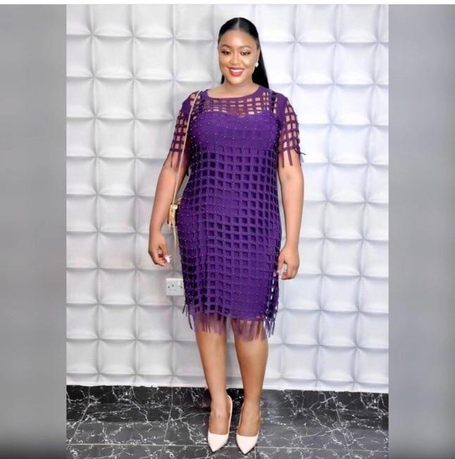 2019 Autumn Sexy Fashion African Women O-neck Beauty Plus Size Dress L-5XL
