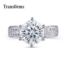 Transgems 솔리드 14 k 585 화이트 골드 센터 3ct 9mm f 컬러 moissanites 약혼 결혼 반지 여성을위한 악센트와 함께 매일 착용