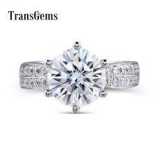 Transgems 14K สีขาว 585 Center 3ct 9 มม.F สี Moissanites หมั้นงานแต่งงานแหวนสำเนียงสำหรับผู้หญิงสวมใส่ทุกวัน