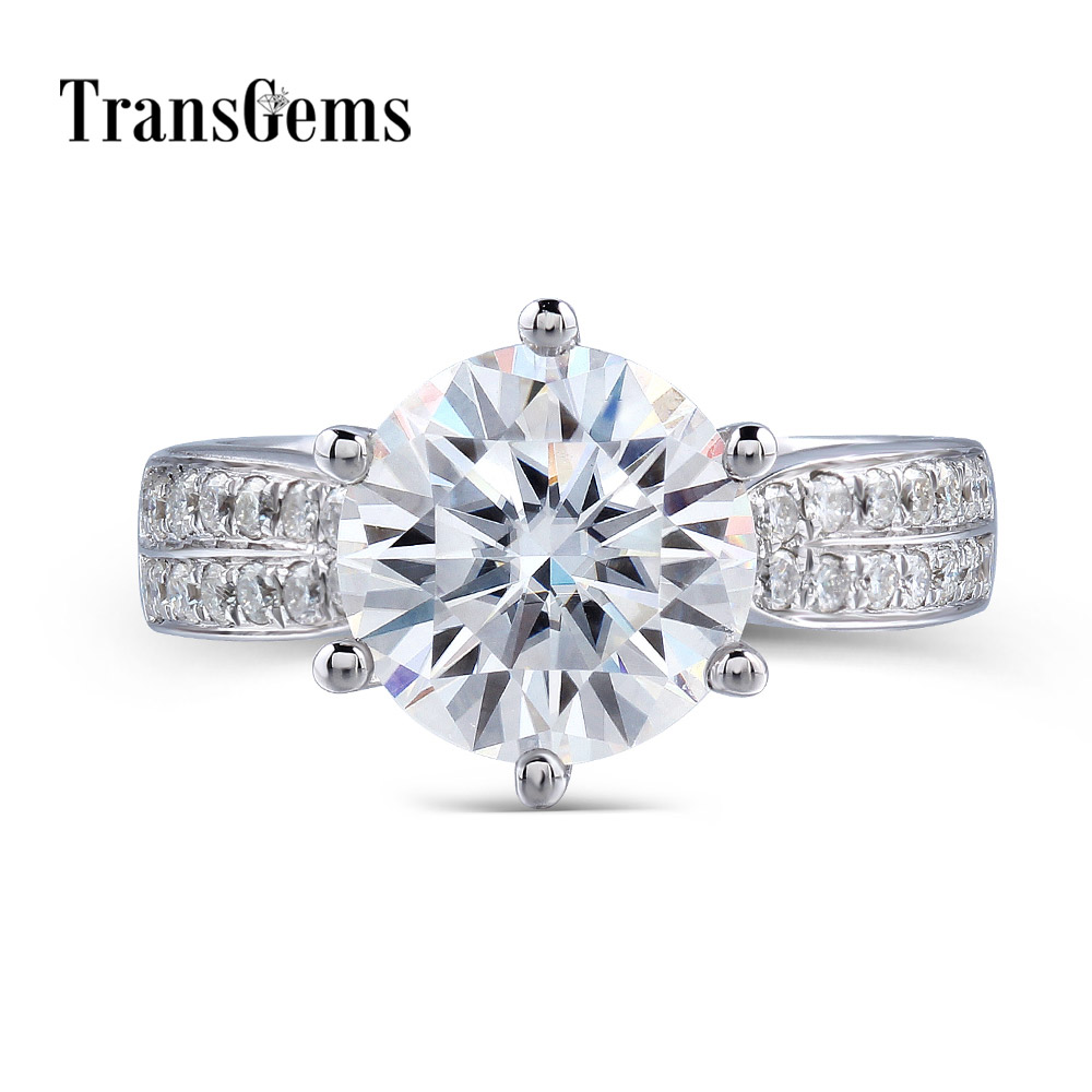 Transgems Solid 14K 585 White Gold Center 3ct 9MM F Color Moissanites Engagement Wedding Ring with Accents for Women Daily Wearring 3ring ringring gold white -