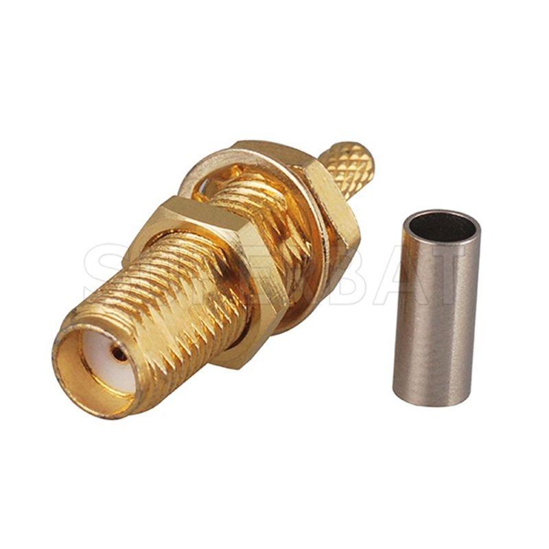 Superbat SMA Jack Bulkhead Long Thread Straight 12.4-18GHz RF Coaxial Connector for Cable RG316 RG174 RG188 LMR100
