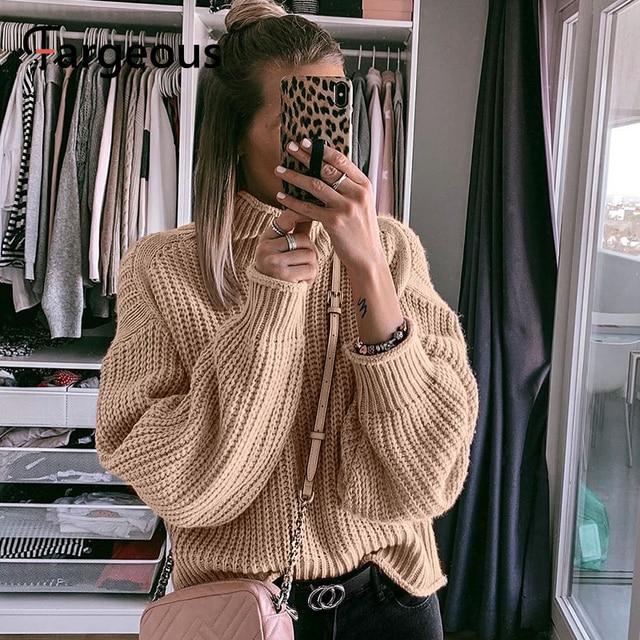 Объемный женский свитер цвета хаки с высоким воротником, вязаный Свободный пуловер с длинными рукавами, Осень зима 2019Водолазки    АлиЭкспресс
