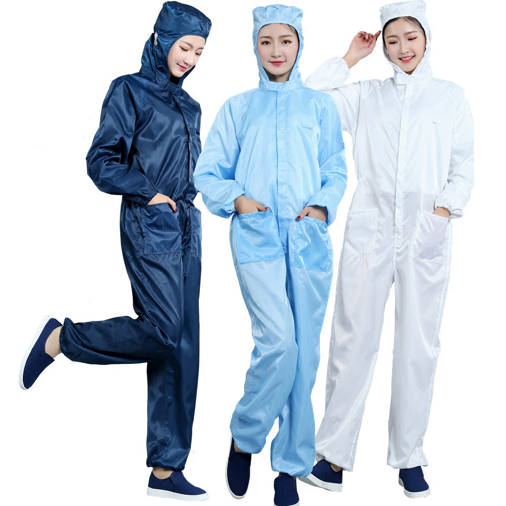Anti-Static Coveralls Clothing Cleanroom Dustproof Suit Clean Clothes Hood Clean Food Work Clothing Unisex Protective Overalls