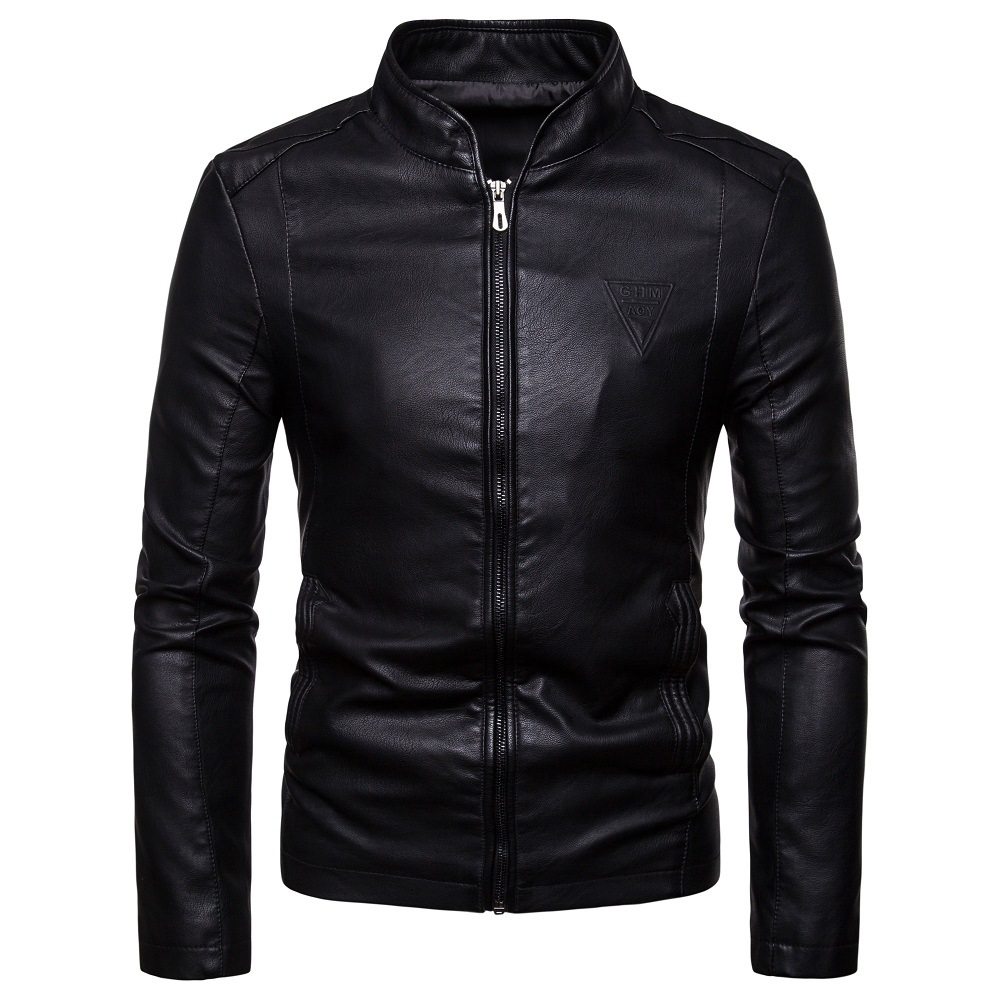 2018 Autumn New Style Men's Korean-style Slim Fit Stand Collar PU Leather Jacket