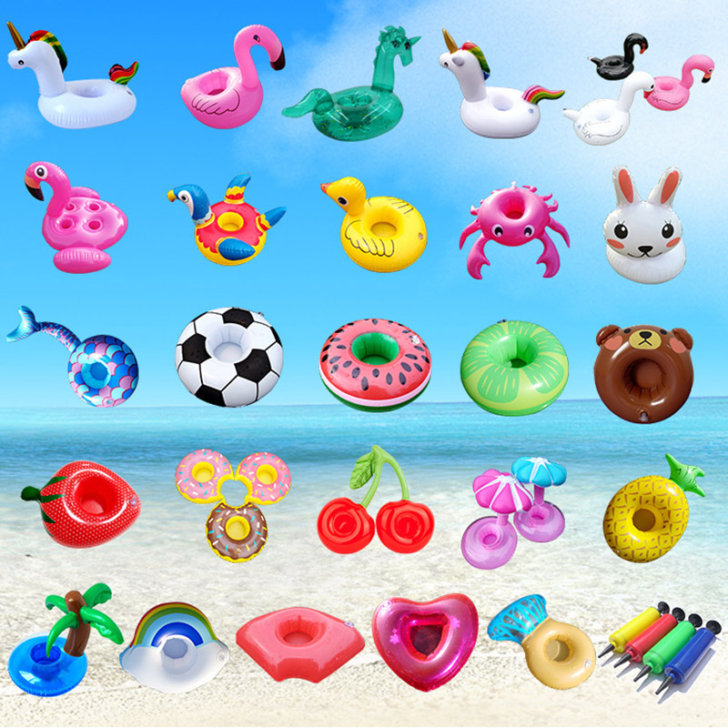 Air Mattresses for Cup Inflatable Flamingo Drinks Holder Pool Floats Bar Coasters Floatation Devices Pink