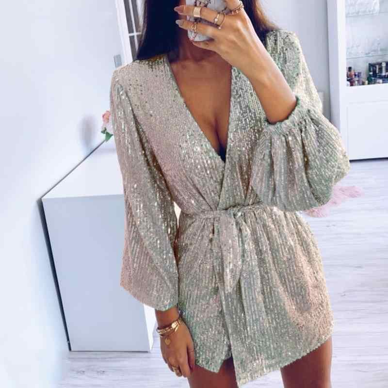女性スパンコールセクシークラブドレス V ネックサッシシルバーイブニングミニドレス