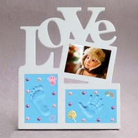 Baby Items Love Shape Hand And Foot Print Photo Frame Child's Hand Cast Newborn Baby Gifts Souvenirs Molds For Plaster Keepsake