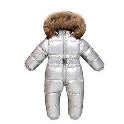 Новорожденный зимний теплый пуховик Детский цельный пуховик Густое зимнее пальто для девочек Детский модный серебряный непромокаемый сне...
