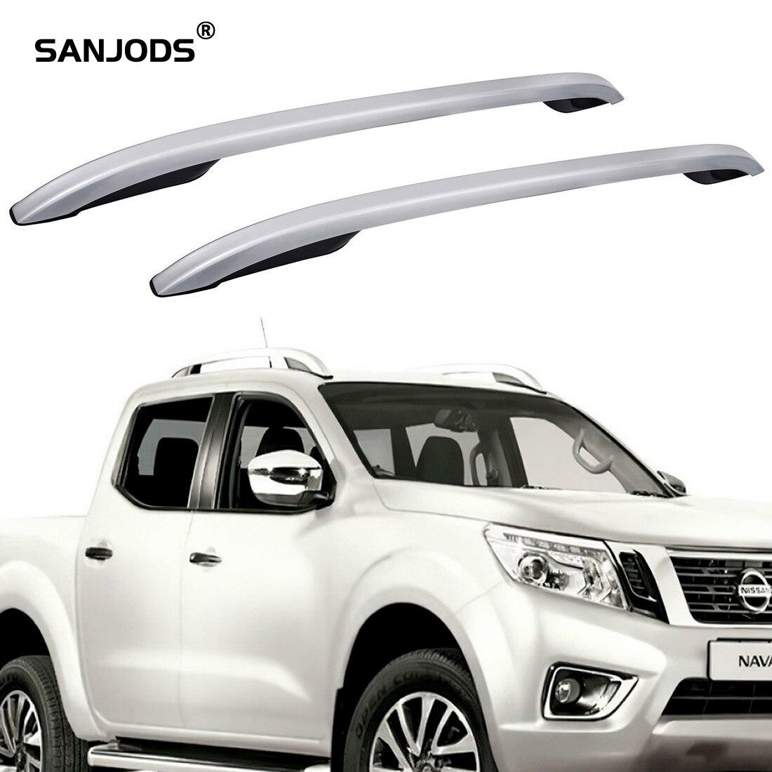 SANJODS-portaequipajes de techo para coche, barra plateada para camioneta, para Nissan Np300, Navara, 4 puertas, 2012, 2013, 2014, 2015, 2016, 2017, 2018, 2 piezas