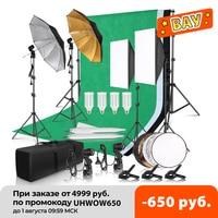 Kit de iluminación softbox para estudio de fotografía, marco de fondo con trípode, paraguas reflector de 2.6x3m, 3 uds.