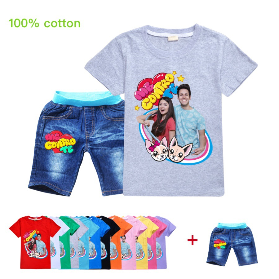 3.28  Boutique Kids Clothing New Fashion Pure Cotton Leisure Boys T Shirt + Short Jeans Suit O-Neck Gril Tops Toddler Clothes