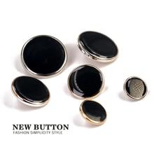 Пластиковые черные золотые серебряные пуговицы для одежды 25 мм 30 мм Швейные аксессуары 11 мм 15 мм покрытие ABS Кнопка Одежда декоративная