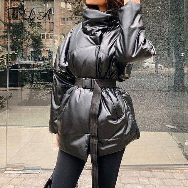 FSDA automne hiver femmes manteau veste Parkas chaud avec ceinture décontracté 2020 poche ample bulle kaki ceintures courtes vestes épais 3
