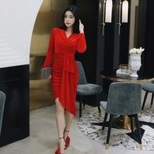 Осенне-зимнее красное бархатное платье женское однотонное асимметричное повседневное облегающее платье женское ДРАПИРОВАННОЕ ПЛАТЬЕ С v-образным вырезом пояс на бедра платье женское