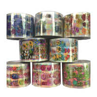8 Rolls Flower Plant Transparent Base Nail Foil Set 120m Colorful Holo Nail Art Transfer Sticker Decal Tips Dried Decor Manicure