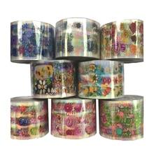 8 Rolls Flower Plant Transparent Base Nail Foil Set 120m Colorful Holo Nail Art Transfer Sticker Decal Tips Dried Decor Manicure стоимость