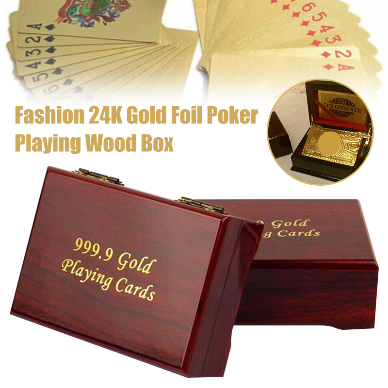 Hot Sale 24K Gold Foil Poker Playing Cards Wooden Box Deck Plated Card Storage Case