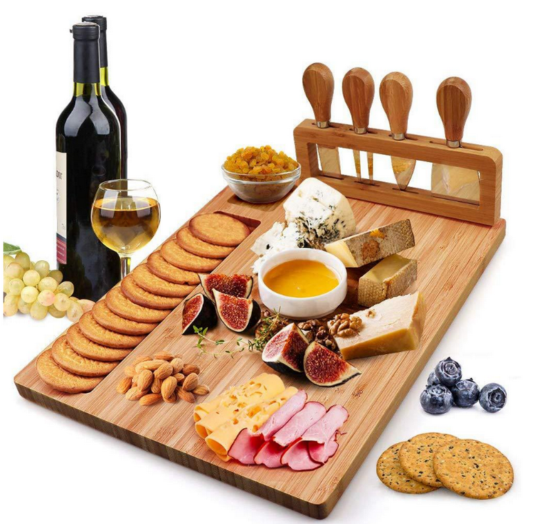 Wine - High-Quality Bamboo Cheese Board with a Professional Four-Piece Knife Set