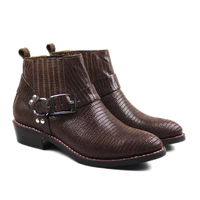 New Rock Cowhide Genuine Leather Men's Boots Western Cowboy Boots Pointed Leather Riding Footwear Brown Work Boots Men,Big 38 45
