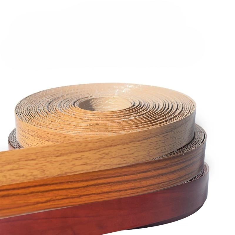 10M Self Adhesive Furniture Wood Veneer Decorative Edge Banding PVC For Furniture Cabinet Office Table Wood Surface Edging