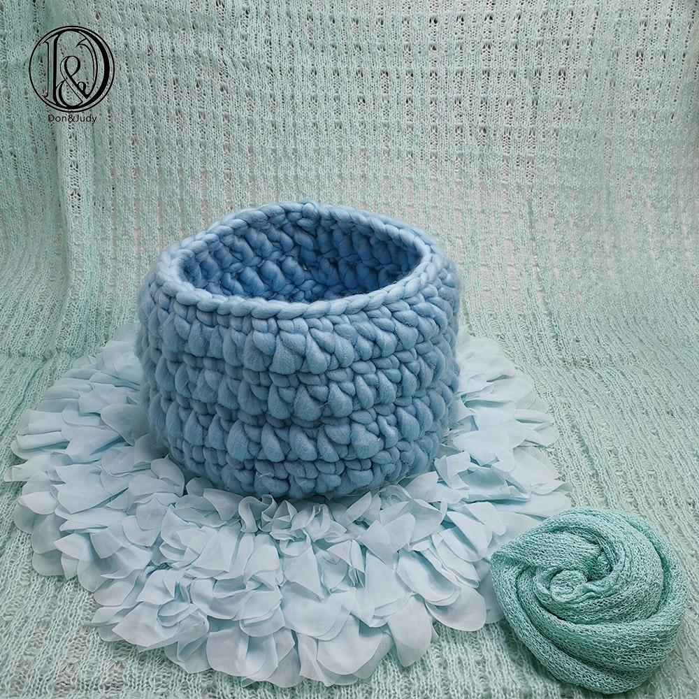 Don&Judy Flower Blanket + Basket +150x100cm Backdrop + 140x30cm Wrap Set Photo Newborn Blanket Background For Photo Shoot Prop
