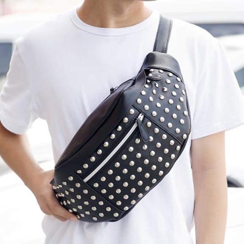 Leather Waist Bag Men's Fanny Pack Belt Bag Pockets Chest Bags Shoulder Bag Rivets Bum Bag Handbag Banana High Quality Packs C20