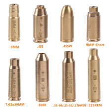 Sighter tático do laser do ponto vermelho bronze cobre boresight cal 9mm 7.62x39mm. 308 .223 .40 .45 do cartucho para a caça do escopo