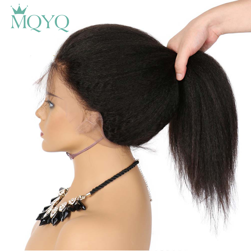 MQYQ 360 Lace Frontal Wigs Peruvian Kinky Straight Wig Lace Human Hair Wigs For Black Women Coarse Lace Frontal Wig Non Remy